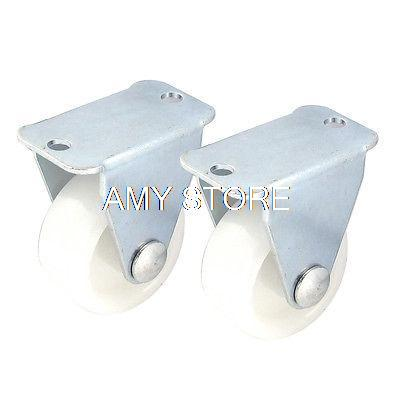Rectangle Flat Plate 1.1 Dia Fixed Wheel Caster White for Shopping Cart