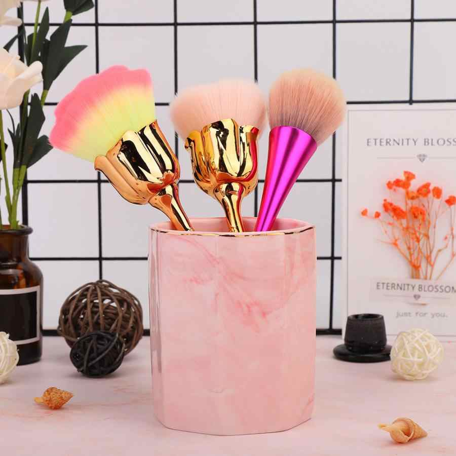 Marbling Makeup Brush Holder Eyeshadow Lip Blush Brush Kit Storage Case with Gold Edge Nail Art Tools Holder