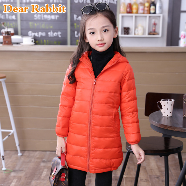 Special Price 2018 thin long down jacket for girl cuhk virgins children's clothes keep warm hooded girls parka coats kids boys winter coat