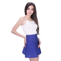 Drop Shipping 2014 Fashion Mulit Color Red Nude Blue Yellow A Line Bandage Skirt Wholesale Summer