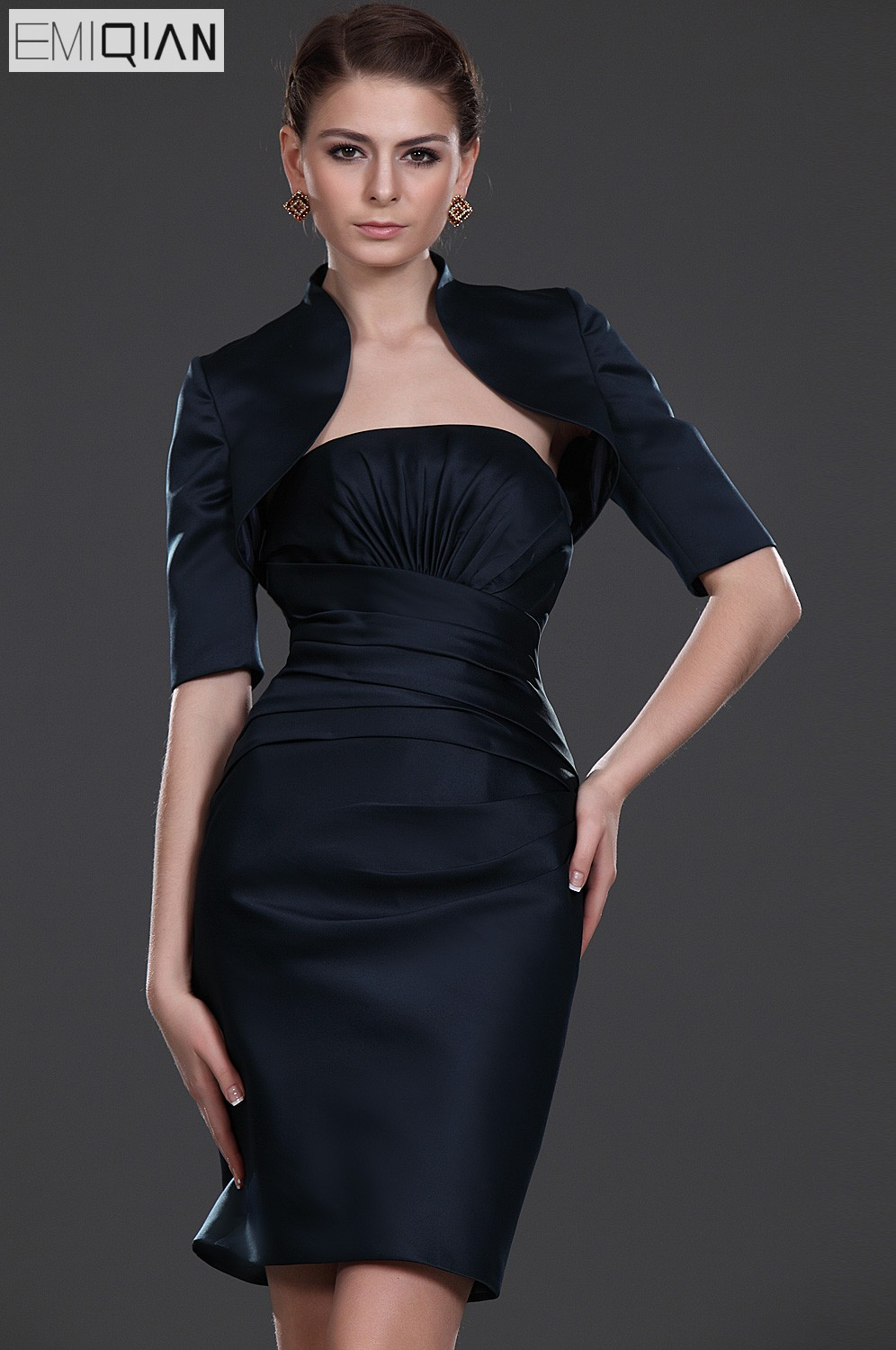 Formal Wedding Party Dress Sheath Sleeveless knee Length Black Satin Short Mother of the Bride Dress with Half Sleeve Jacket