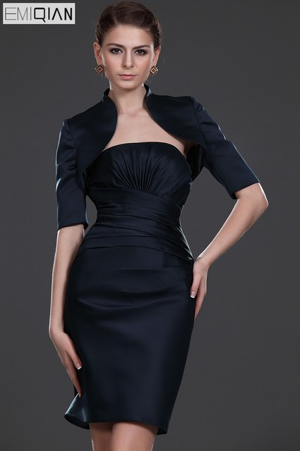 8af50f4f972 Formal Wedding Party Dress Sheath Sleeveless knee Length Black Satin Short  Mother of the Bride Dress with Half Sleeve Jacket