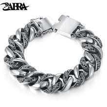 Skills old silversmith 100% 925 Silver tang grass grain bracelets Punk rock locomotive male jewelry Coarse smooth big bracelet