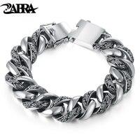 ZABRA завод Тотем из натуральной 925 серебряные браслеты панк Рок Винтаж тяжелый серебряный браслет для мужчин роскошный мужской Байкер ЮВ