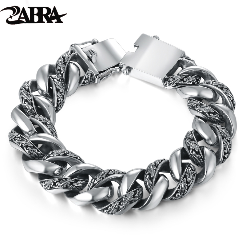 ZABRA Plant Totem Genuine 925 Silver Bracelets Punk Rock Vintage Heavy Sterling Silver Bracelet Men Luxury Male Biker Jewelry zabra luxury 925 silver bracelets men vintage punk crown mens skull bracelet biker gothic sterling silver jewelry erkek bileklik