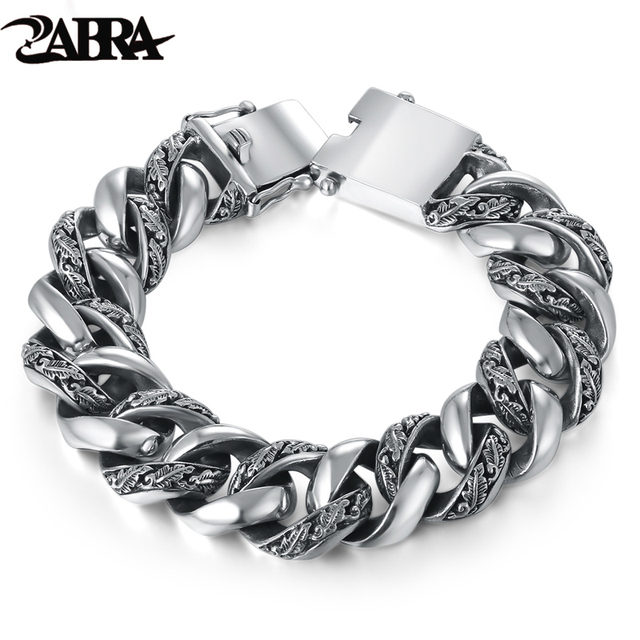 Zabra Plant Totem Genuine 925 Silver Bracelets Punk Rock Vintage Heavy Sterling Bracelet Men Luxury