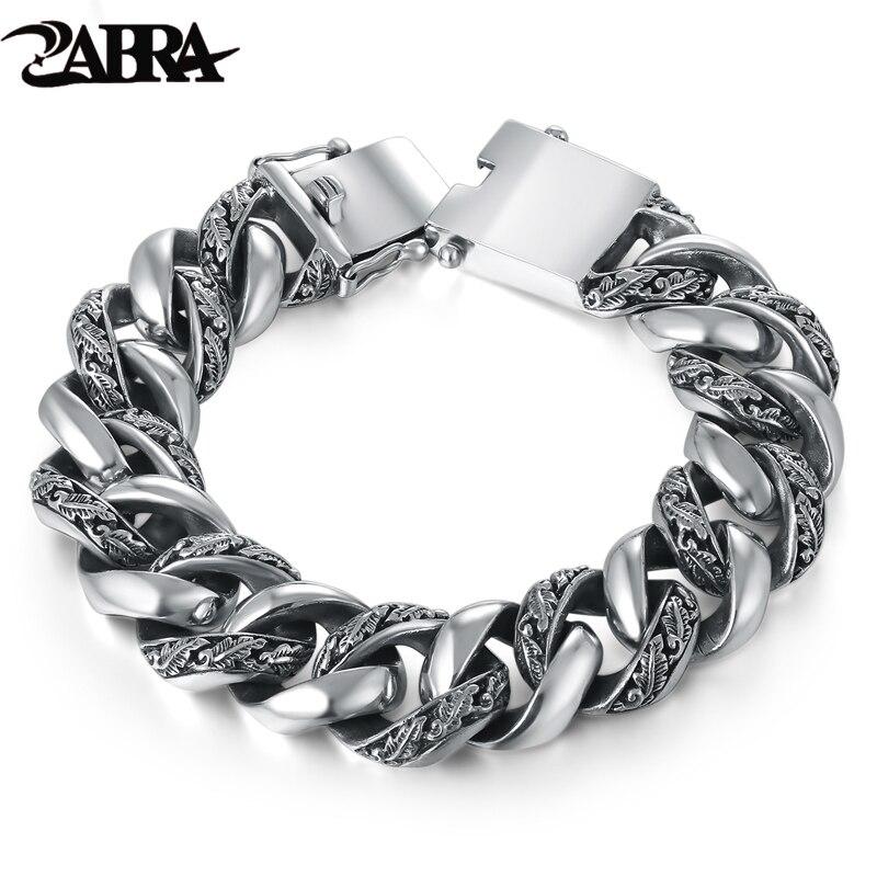 ZABRA Plante Totem Véritable 925 Argent Bracelets Punk Rock Vintage Lourd Sterling Argent Bracelet Hommes De Luxe Mâle Biker Bijoux