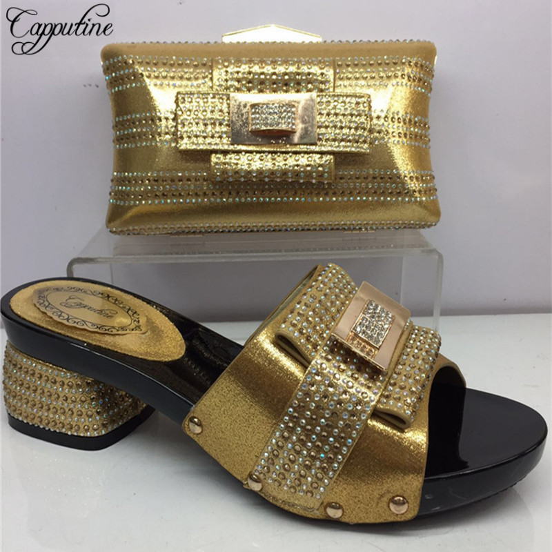 Capputine 2018 New Italian Rhinestone Gold Color Shoes And Bag Set Fashion Design Shoes And Bag Set For Evening Party BL955C fashion women s evening bag with hasp and color block design