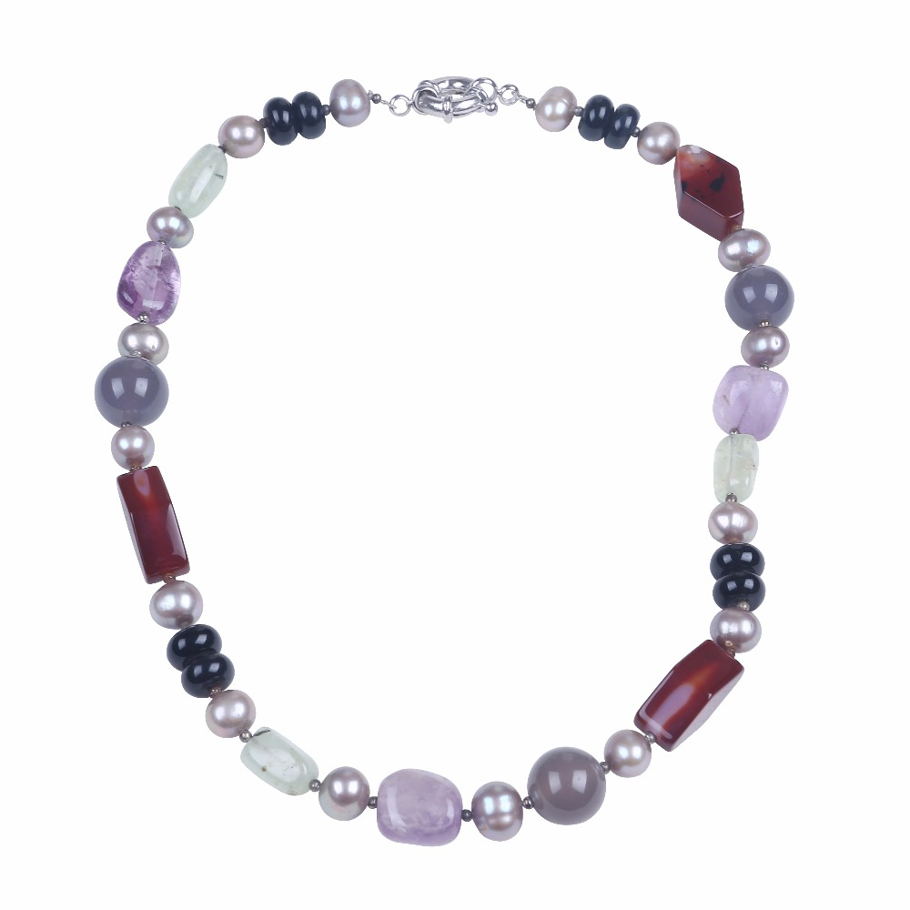 Freshwater pearl necklace with multi color natural stone bead necklace women choker necklace jewelry as friends birthday gifts