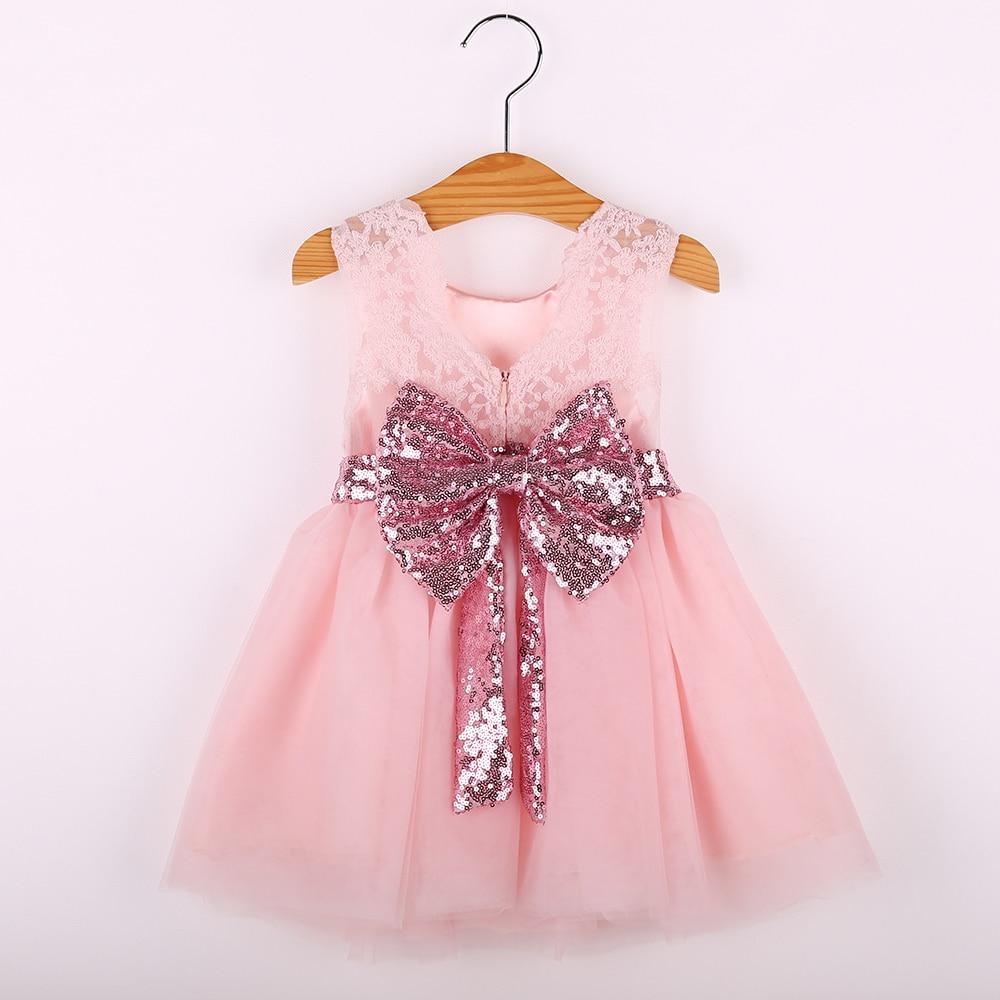 Baby girl dress summer kids princess dress sleeveless lace shiny bowknot chiffon first birthday dresses For