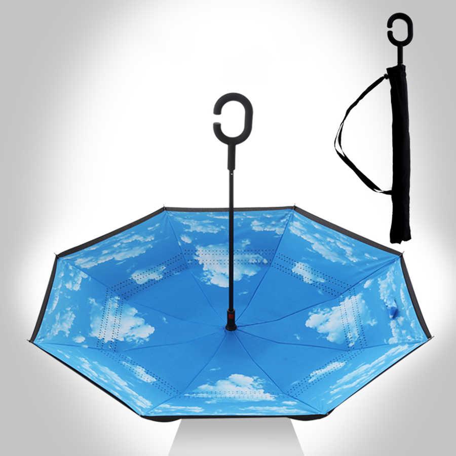 داخل خارج مظلة بطبقة مزدوجة مقلوب المطر المظلة حديقة سيارة عكس مظلة يندبروف الدراجة Sombrillas الشمس المظلة 50KO031