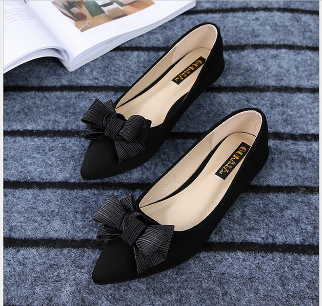 Spring Summer new style single shoes for women flat shoes Pointed Toe  flat bow black work shoes 2017 spring summer new pointed flat flock bow women s shoes work shoes ballerina flats plus size 34 41