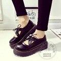 Mujeres Zapatos Oxford Hebilla Pu Chic Personalidad Sólida antideslizante Retro Zapatos de Plataforma Plana Zapatos de Las Mujeres de Cuero Suave Japonés estilo