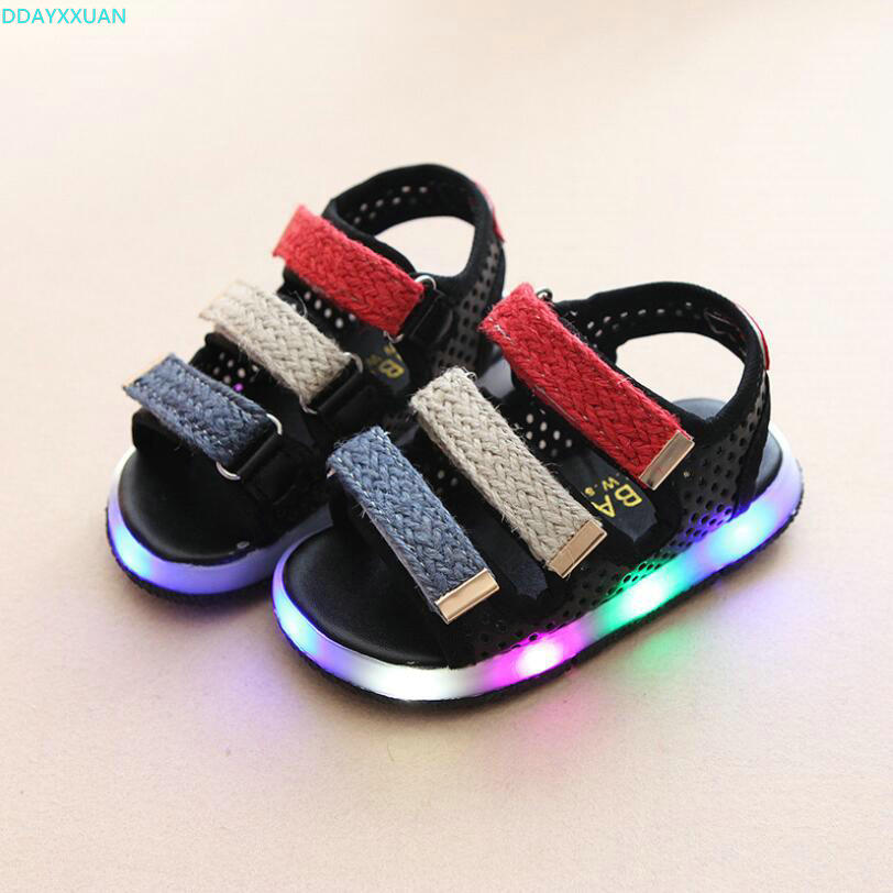 Brand Glowing New Kids Sandals Shoes Boys Girls Flat Baby LED Luminous Lighting Sneakers Sandals Pink Black White