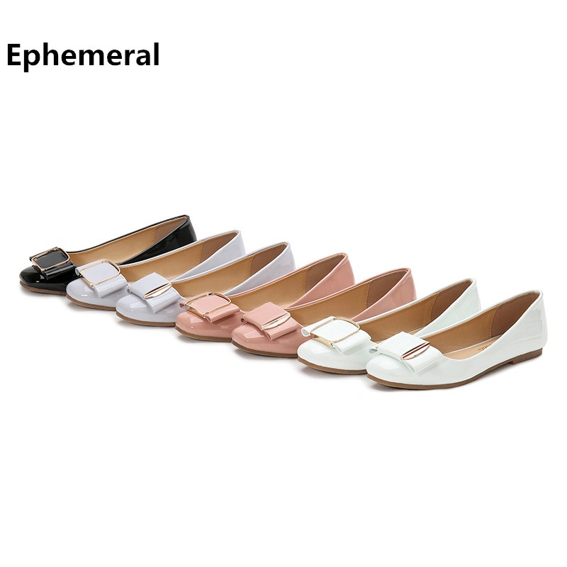 Lady Flats Ballet-Shoes Grey Leather slip-On White Plus-Size Cute Patent with 48/34 Toe-Sole