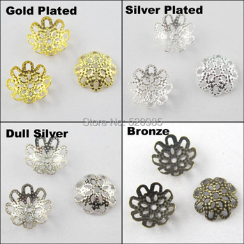 (200Pcs=1Lot ! ) Free Shipping Jewelry Finding 10MM Flower Filigree End Beads Caps Gold Silver Bronze Nickel Plated No.BC02