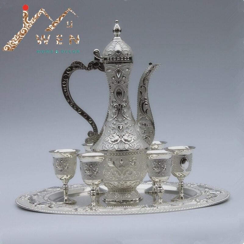12 plate silver color metal wine set tea set fashion for Kitchen set zink