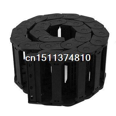 1M 25x38mm Black Plastic Semi Closed Drag Chain Cable Carrier 39.4 semi closed 25x50mm cable drag chain wire carrier with end connectors plastic towline for cnc router machine tools 1000mm