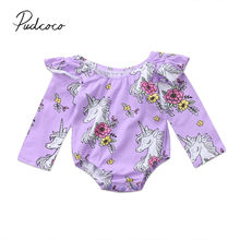 ed975487ebe 2017 Brand New Newborn Toddler Infant Baby Girl Cartoon Horse Jumpsuit  Bodysuit Ruffled Long Sleeve Playsuit Purple Clothes
