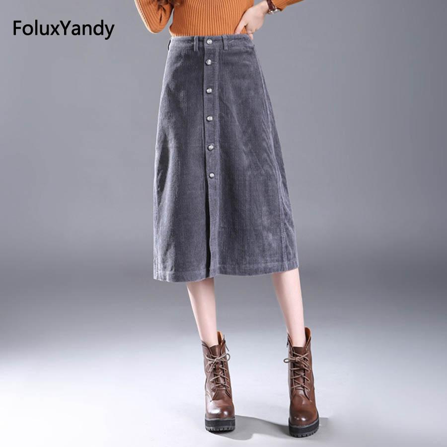 New Corduroy Skirts Women Button Fly Mid Waist Casual Plus Size Midi Skirts Gray Black Blue MZNZ34