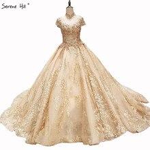 יוקרה גבוהה צווארון רקמת פניני כלה שמלות 2020 אופנה בציר נסיכה high end סקסי כלה שמלת תמונה אמיתית