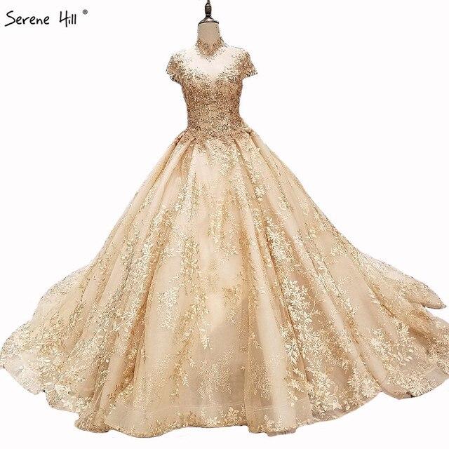 Di Lusso di Alta Del Collare Del Ricamo di Perle Abiti da Sposa 2020 di Modo Dellannata di Alta End Principessa Sexy Abito da Sposa Immagine Reale