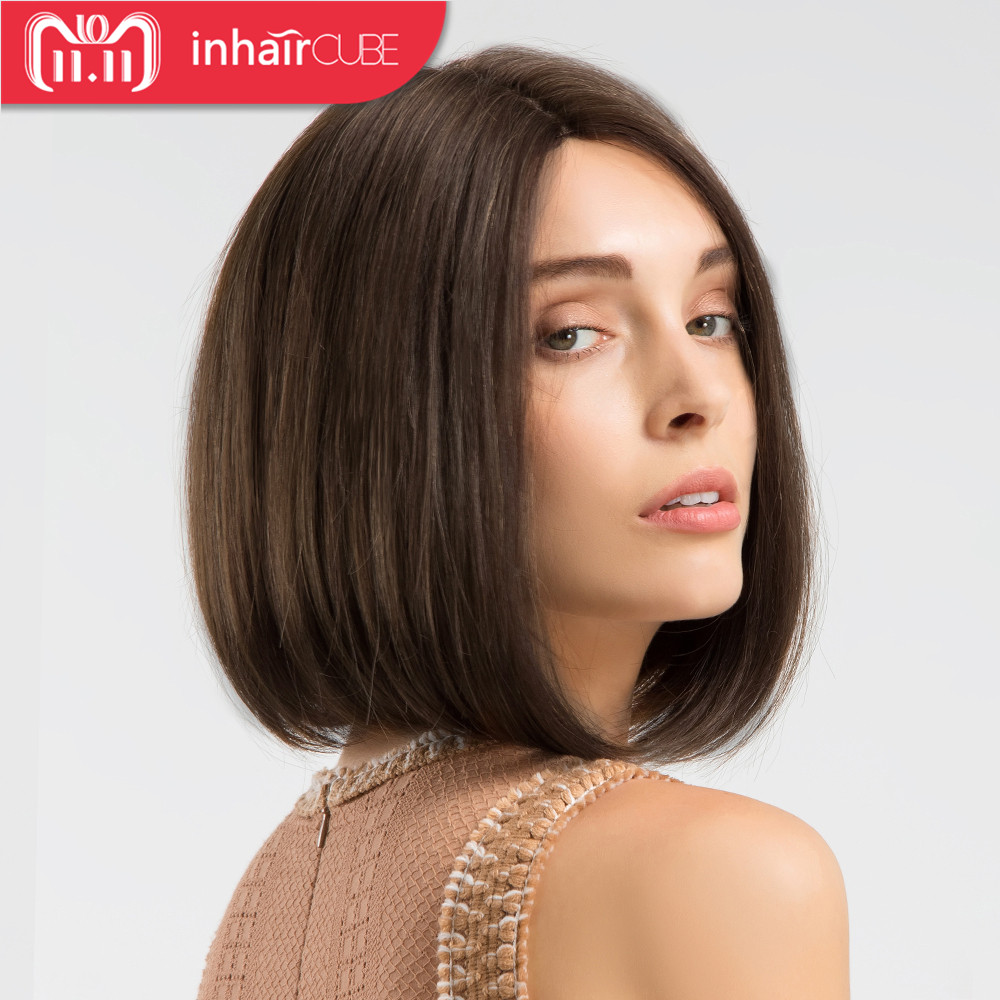 INHAIR CUBE Synthetic Blend Short Straight Hair Glueless Lace Wig Bob Hand-tied Middle Part Mixed Color Brown Wigs for Women