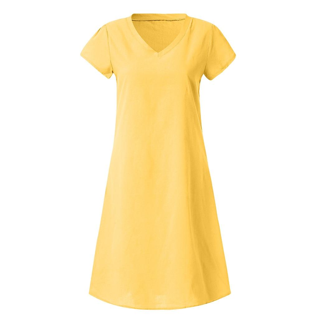 Cotton Linen Casual Plus Size Ladies Loose Dresses V Neck New Women Summer Style Feminino Vestido