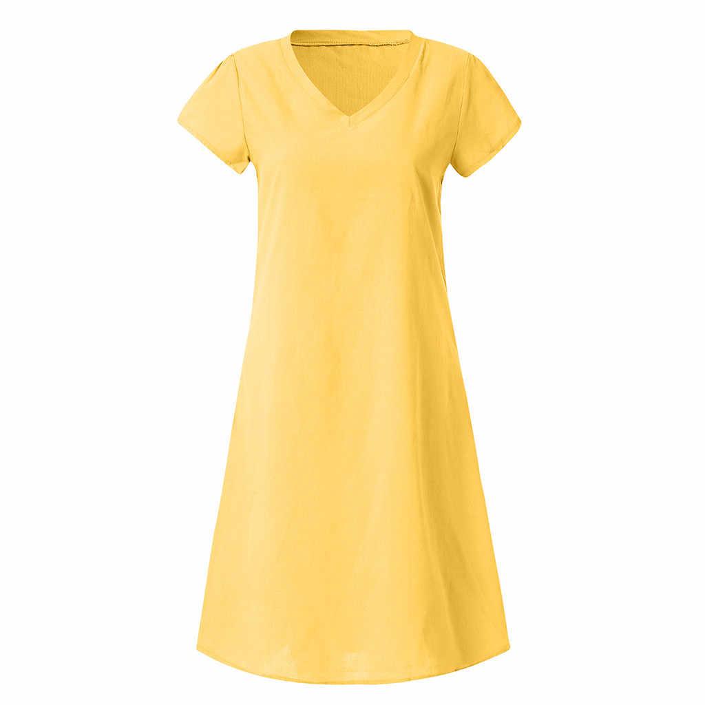 コットンリネンカジュアルプラスサイズの女性ルースドレス V ネック新女性夏スタイル Feminino Vestido Tシャツドレス 2019