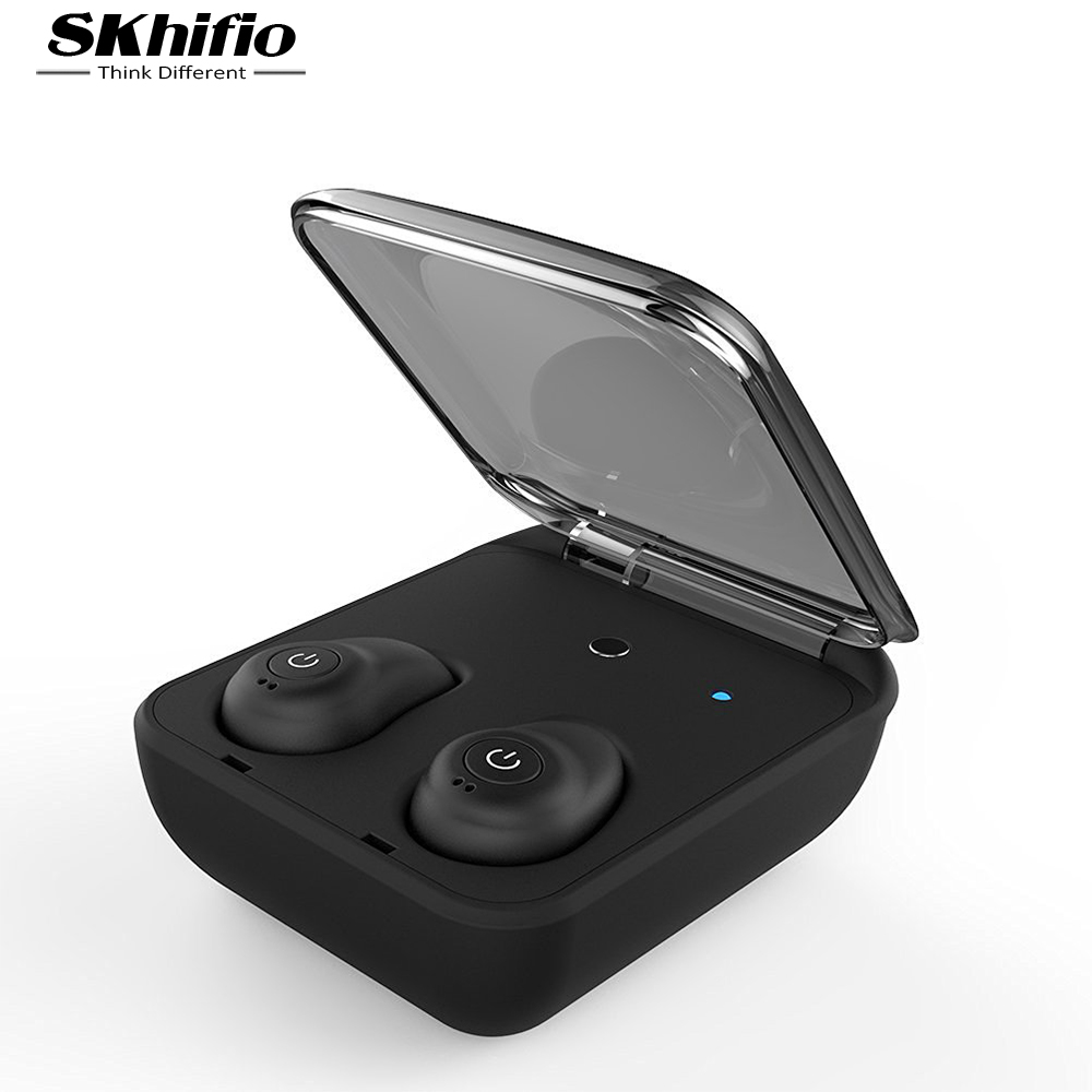 SKhifio True Wireless Bluetooth Earphone TWS Headset Twins Sports Earphones Earbuds with MIC Hands free Earbud for Phone iPhone