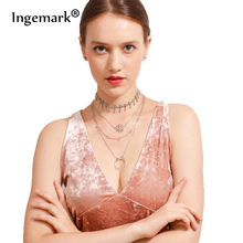 Ingemark Bohemian 2018 Summer Multilayer Necklaces Moon Crystal Pendant Round Fashion Chain For Women Statement Jewelry