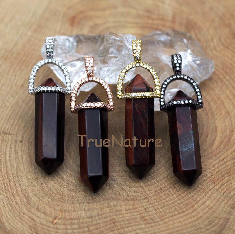 Natural Red Tiger Eye Stone Jewelry Double Terminated Petite Nugget Point Pendant Bullet Hexagon Charm In 45*10 mm PM7449