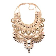Богемное этническое длинное ожерелье-чокер с большим нагрудником, Женские Ювелирные изделия, индийские винтажные массивные хрустальные стразы, ожерелье с большим воротником для девушек