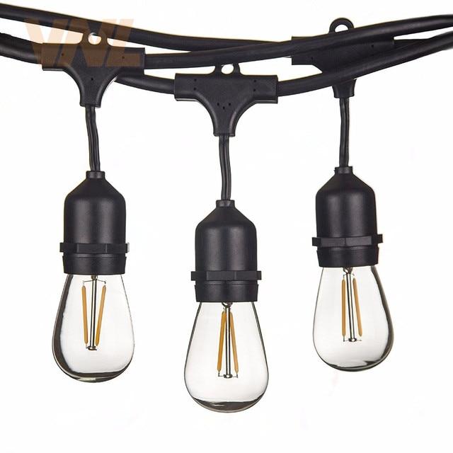VNL IP65 15 m 15 Bóng Đèn LED S14 Chuỗi Đèn E27 LED Retro Edison Bóng Đèn Dây Tóc Ngoài Trời Sân Kỳ Nghỉ sáng Ánh Sáng đám cưới Chuỗi