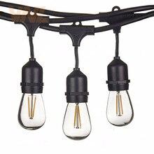 VNL tira de luces LED de 15M, 15 bombillas LED S14, E27, Retro, Edison, para exteriores, jardín, Patio, vacaciones, boda, cadena de luces