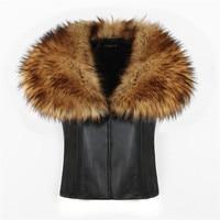 2018 New LANSHIFEI High Quality Faux Fur Vest Imitation Fox Fur Collar Waistcoat PU Leather Winter Coat Women Vest Short Gilet