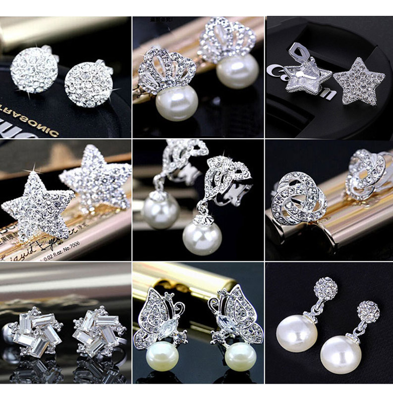 Fashion Charm Clip on Earring Jewelry Simulated Pearl Cute No Hole Earrings for Women Shiny Crystal Wedding Jewelry Elegant