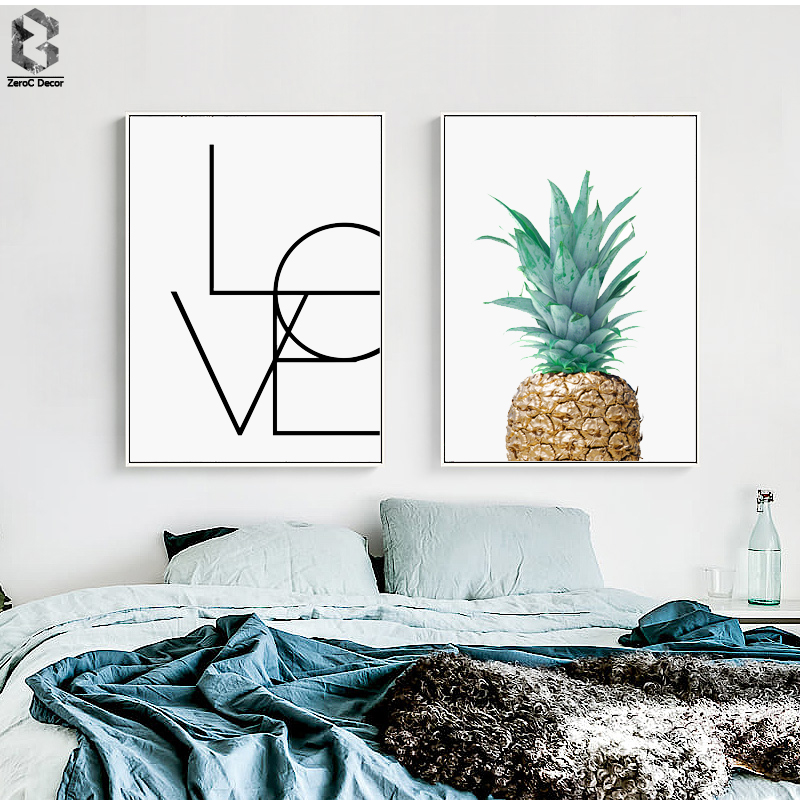 Pineapple LOVE Quotes Minimalist Scandinavian Poster Wall Art Canvas Painting Modern Wall Picture Print Living Room Home Decor