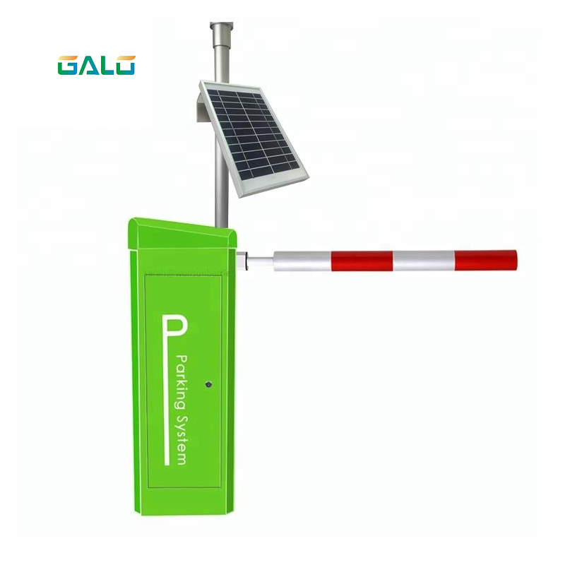 Solar Power Parking Lot Barrier Gate, 5 Meter Barrier Gate With Straight Boom Road Gate Barrier For Packing Access Control