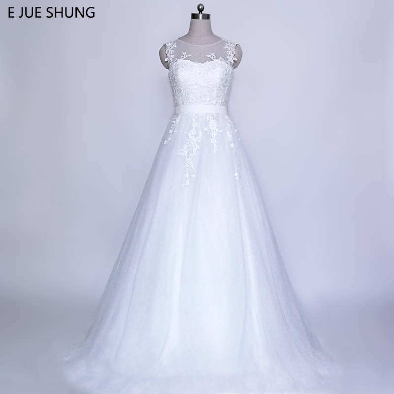 E JUE SHUNG vestido de novia Vintage mežģīņu aplikācijas Bezkontakta lēti kāzu kleitas Cap Sleeves kāzu kleitas trouwjurk