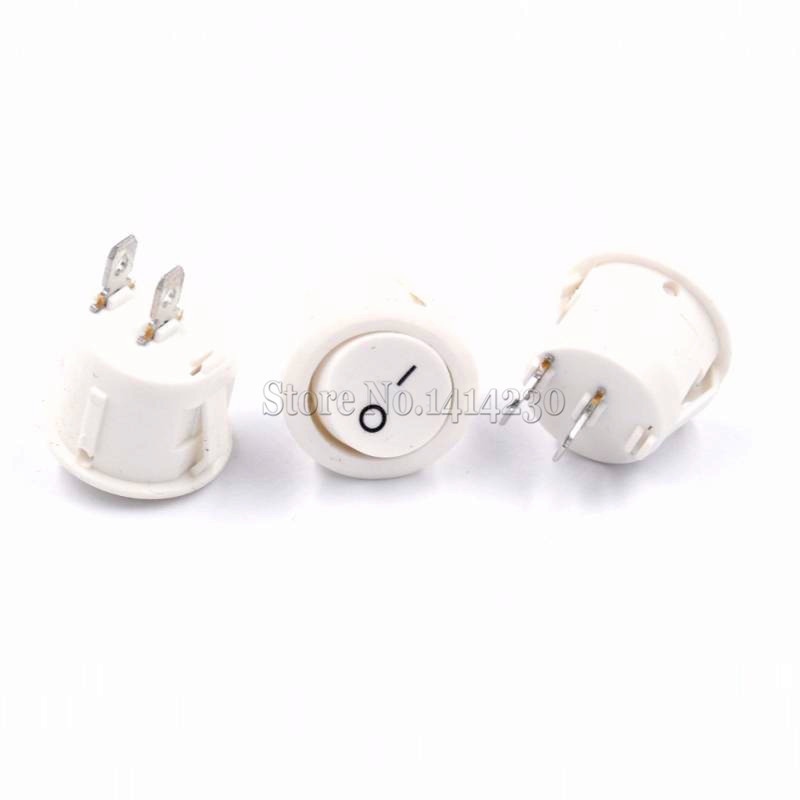 10PCS 23mm Diameter Big Round Boat Rocker Switches KCD1-105 White 2 Pin ON-OFF Rocker Switch 10A/125V 6A/250V 5pcs 15mm small round black 2 pin 2 files 3a 250v 6a 125v rocker switch seesaw power switch for car dash dashboard toys