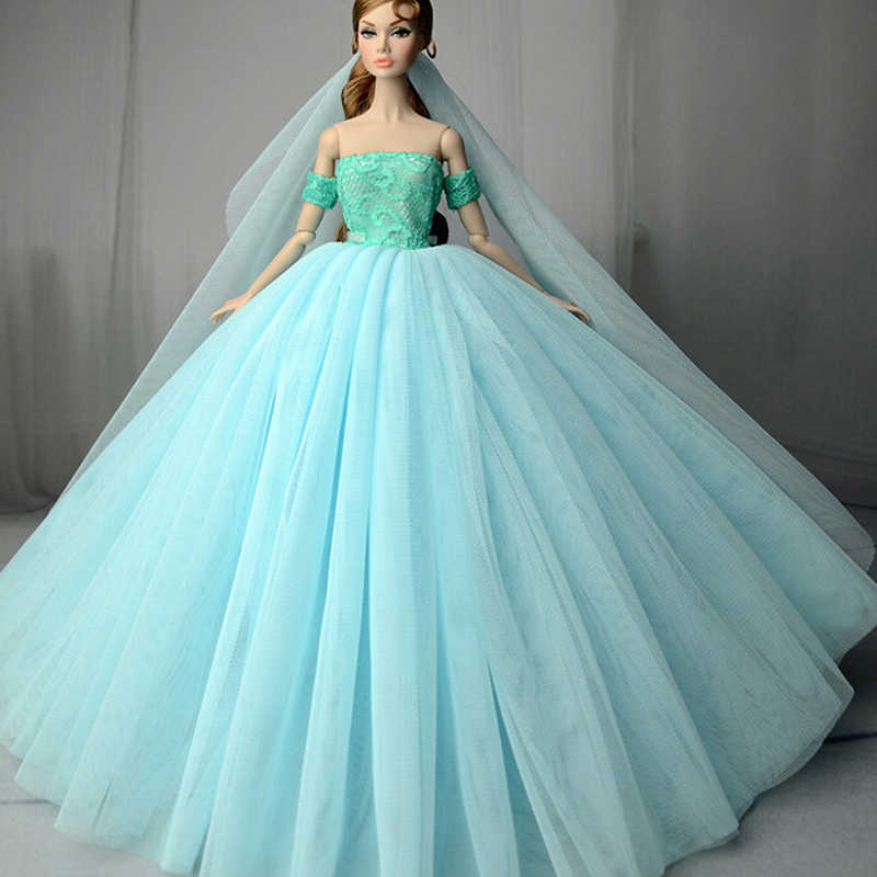 ... High Quality Doll Dress Handmade Long Tail Evening Gown Clothes Lace  Wedding Dress +Veil For ... b1f76922ef4b