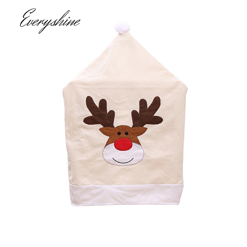 Christmas Decoration Reindeer Dining Chair Back Covers Christmas Home Kitchen Dinner Party Hanging Ornaments Chair Hat DS422