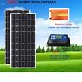 2*100 Вт гибкие солнечные панели с 20A контроллером и 1000 Вт Чистая синусоида Инвертор высокое качество 200 Вт солнечная система RV лодка
