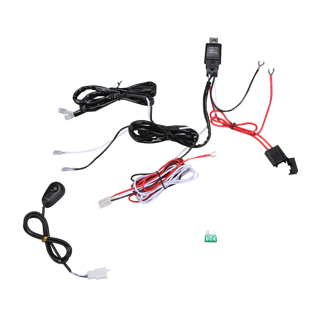 universal 12v 40a 1 for 2 car fog light wiring harness kit loom for fog light harness kit  fog light harness kit 2006 mustang universal 12v 40a 1 for 2 car fog light wiring harness kit loom for led work driving light bar with fuse and relay switch in cables, adapters & sockets from