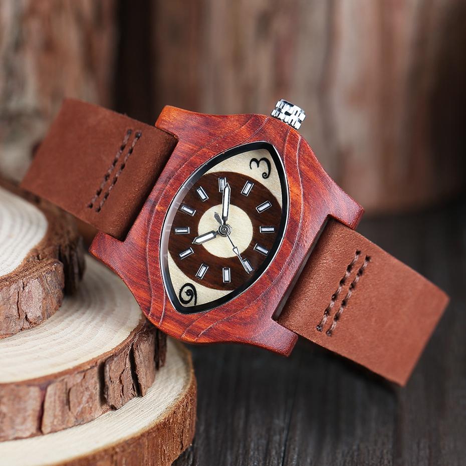 2017 Retro Red Wood Watch Creative Eyes Design Unique Men Women Natural Wooden Quartz-watch Genuine Leather Handmade Unisex Christmas Gifts (9)