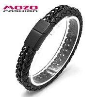MOZO FASHION Men Charm Bracelet Leather Bracelet Black Gold Silver Color Stainless Steel Link Chain Bracelet