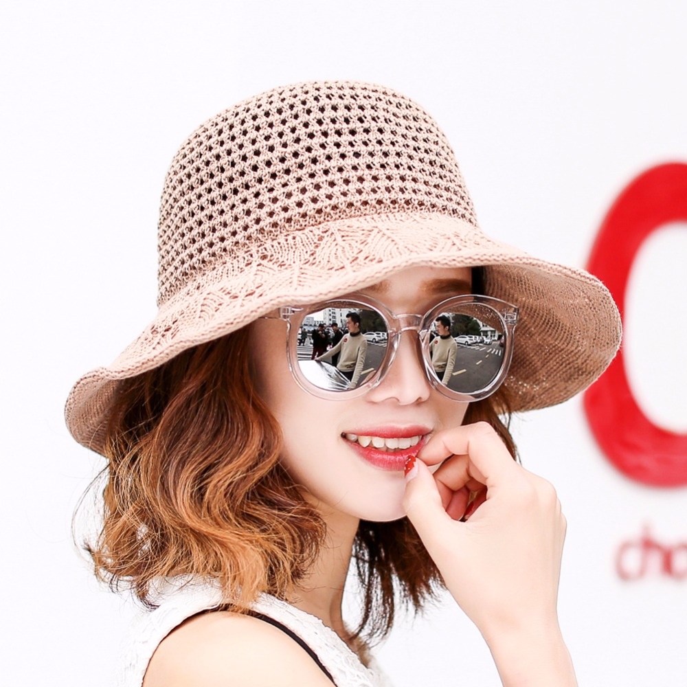 c44fd5244f54a 2018 Summer Beach Hat For Women Anti-UV Sun Cap Ladies Sweet style Bow-knot