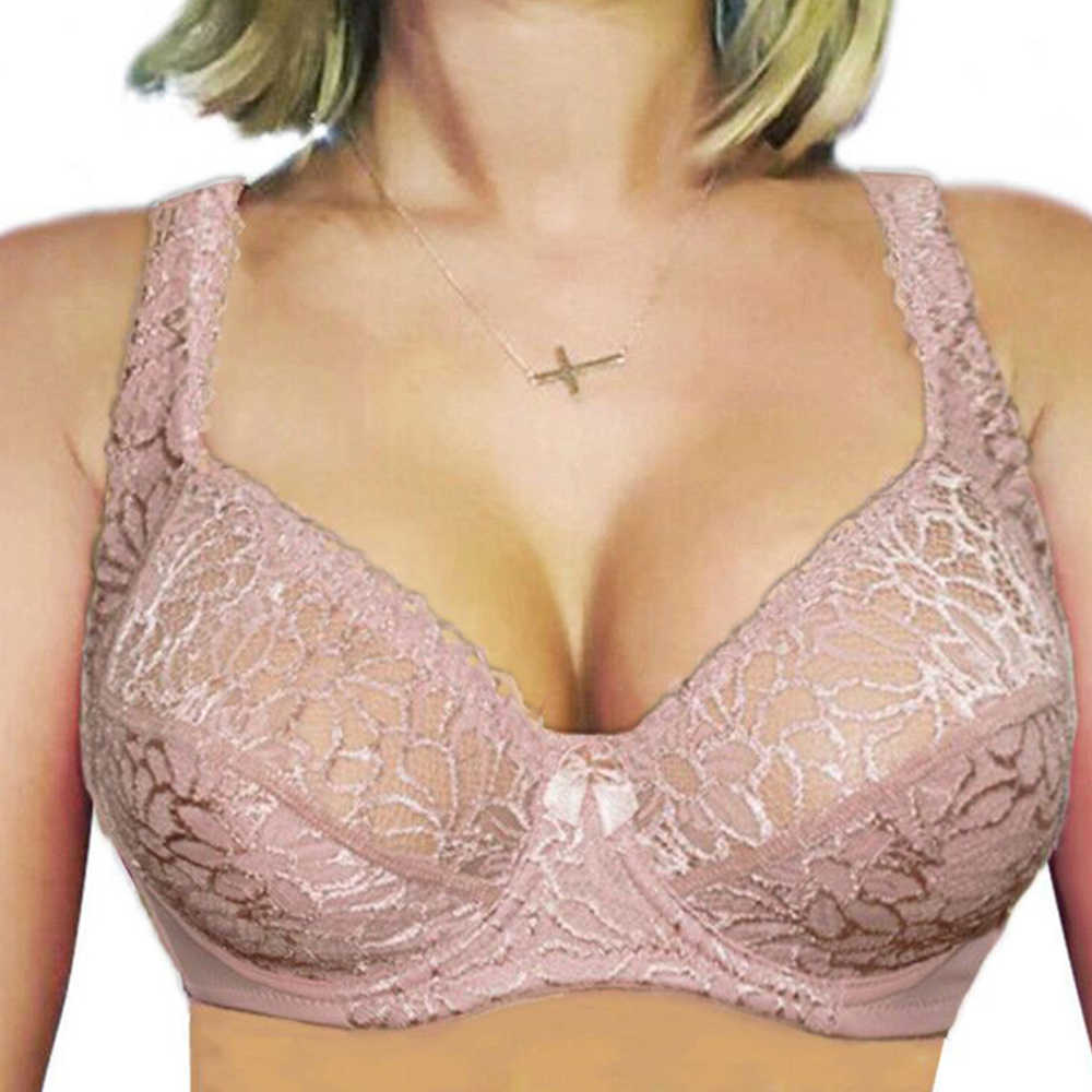 Large Size Bras For Women Flower-Dotted Unlined Underwire Bra Sexy Women Underwear Lace Bralette Lingerie Top  B C D DD E F Cup