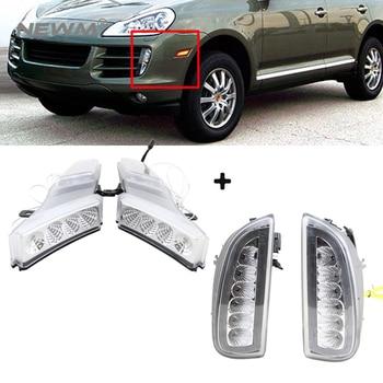 Clear Led Side Marker Turn Signal Lights White/Amber + Led DRL Daytime Running Light For Porsche Cayenne 2007-2010